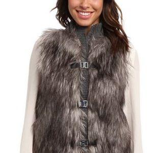 Calvin Klein faux fur knit vest